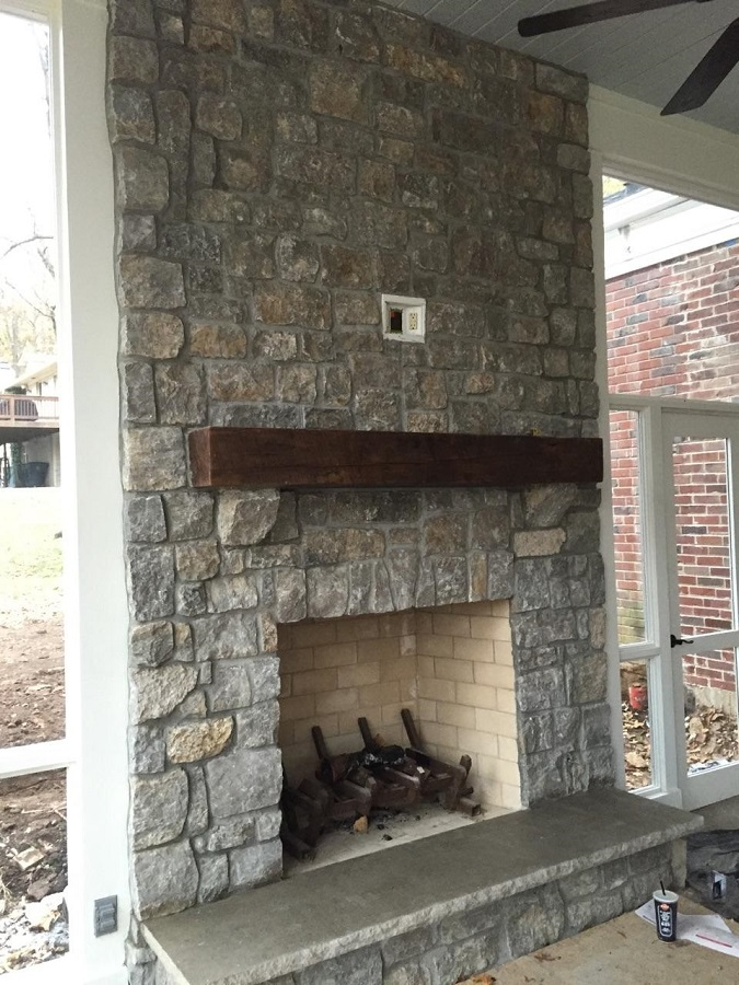 Renaissance stone company exterior fireplaces for Grey stone fireplace